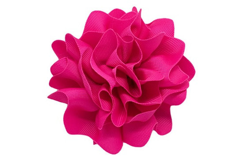 Large grosgrain scalloped flower baby headbands or toddler hair clips, shown in shocking pink