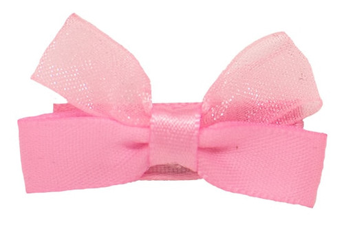 Pink Kara baby hair bow shown on bitty clip