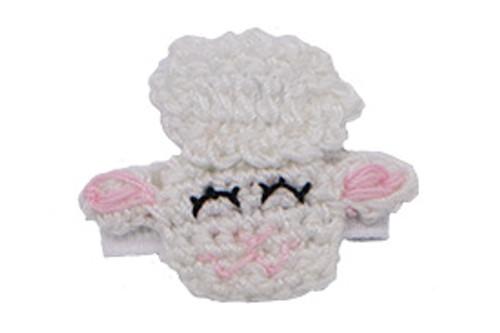 Barbara lamb sheep hair clip, as shown on a bitty clip for babies with fine hair