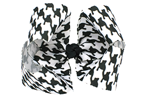 Harper. Black and White Houndstooth Big Fluffy Hair Bow.
