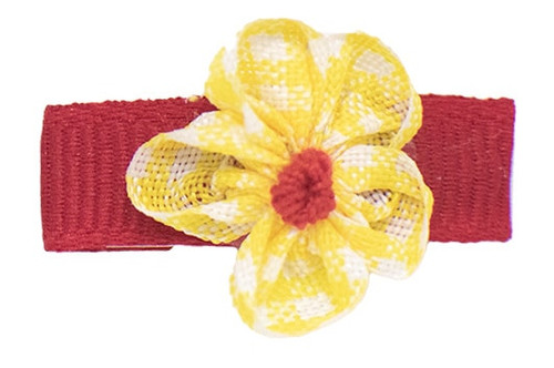 Sweet little gingham flower with contrasting background is the cutest flower hair clip for a baby girl!