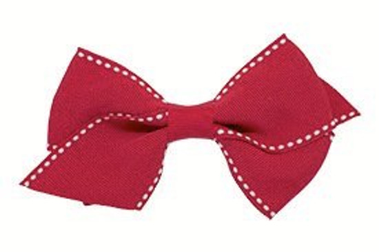 Signature stitch flat toddler bow shown in red