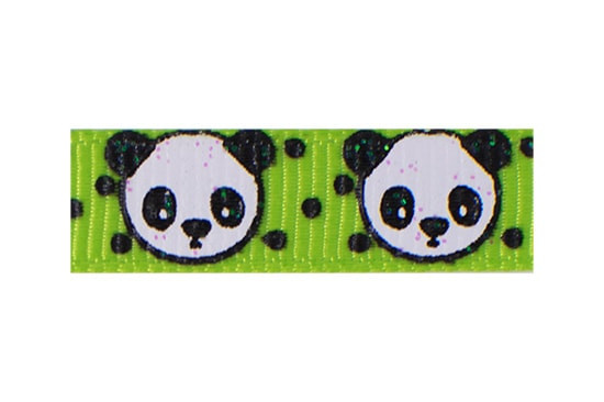 Adorable black and white panda hair clip with apple green background