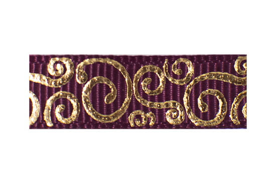 Gold swirls on rosewine background, a cute baby hair clip