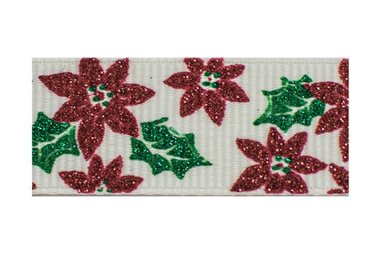 Red and Emerald Poinsettias on a White Background
