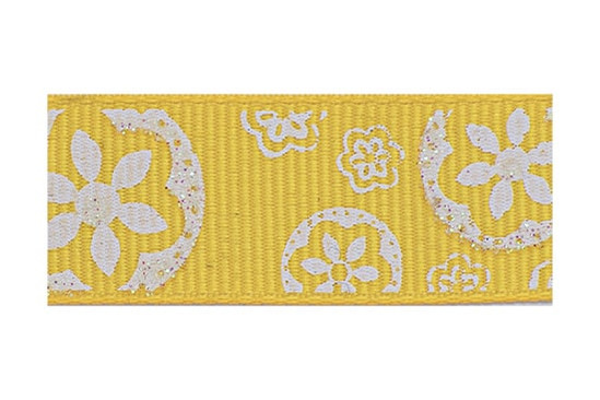 White Sparkle Floral Pattern on a yellow gold background