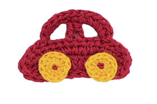 This little red crocheted car clippie is sure to drive her wild!