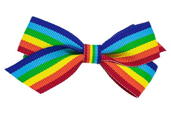 Rainbow striped baby bow