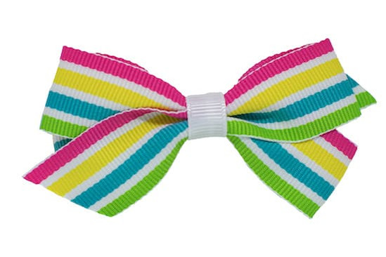 Sweet summer striped baby or toddler bow, shown on our no-slip bitty clip