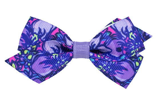 Lovely purple printed baby or toddler bow with a flat tropical lilac center