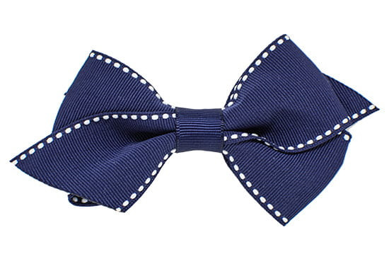 Signature stitch flat toddler bow shown in navy