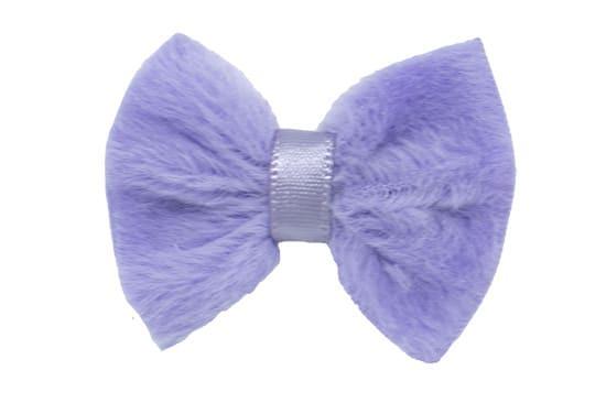 Adorable Bailey furry baby hair bow, shown in bluebird iris on a no-slip bitty clip