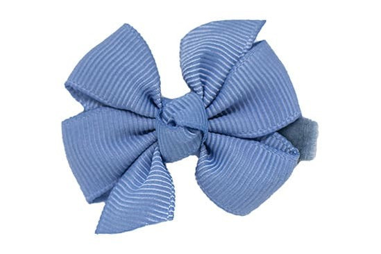 french blue hair bow, on our no-slip velvet lined alligator clip that seriously stays in the finest baby hair