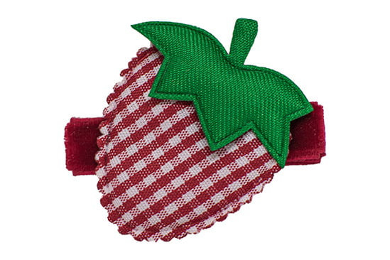 Red Bubbly Berry Gingham Strawberry Hair Clip, shown on our velvet gator clip