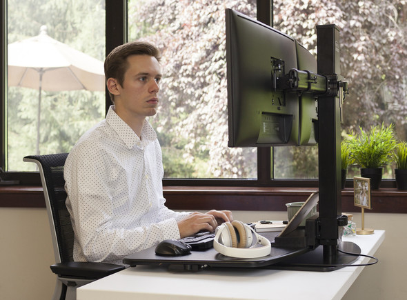 The Freedom Stand effortlessly transforms any surface into a personalized sit-stand desk, enabling you to achieve long lasting health benefits. Height adjustable keyboard tray easily lifts your keyboard to the proper height for unsurpassed ergonomic comfort. Wide range of monitor movement enables swivel, rotation and tilt to match different viewing angle needs.