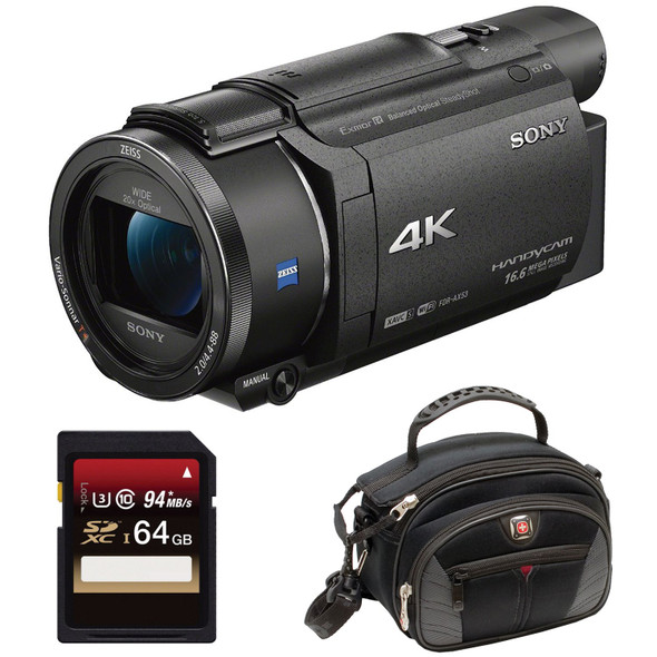 Sony Handycam FDR-AX53 - Camcorder - 4K / 30 fps - 16.6 Mpix - 20x optical zoom - Carl Zeiss - flash card - Wi-Fi, NFC - black