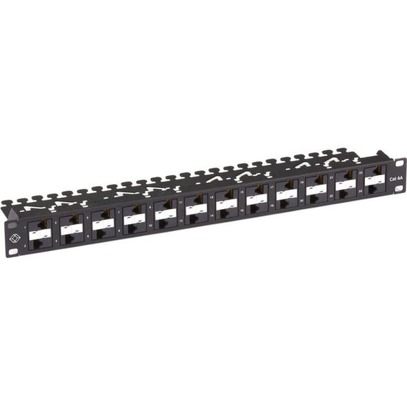 Black Box CAT6A Patch Panel, 24-Ports, Component Level 110, 1U, PoE+ - C6APP70-24