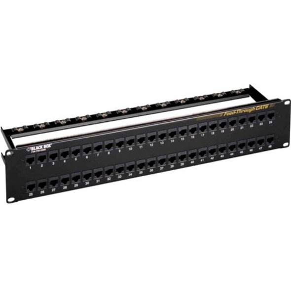 Black Box CAT6 Feed-Through Patch Panel - Unshielded, 48-Port - JPM820A