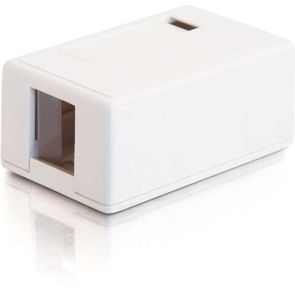 C2G 1-Port Keystone Jack Surface Mount Box - White - 3831