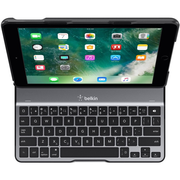 "Belkin QODE Ultimate Lite Keyboard/Cover Case for 9.7"" Apple iPad (5th Generation), iPad Air Tablet - Black - F5L904TTBLK"