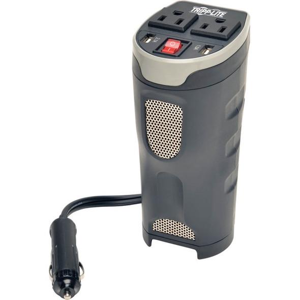Tripp Lite Car Inverter Cup Holder 200W 12V DC to 120V AC 2 USB Charging Ports 2 Outlets - PV200CUSB