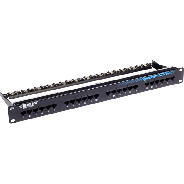 Black Box GigaBase CAT5e Patch Panel - 1U, Unshielded, 24-Port - JPM902A-R6