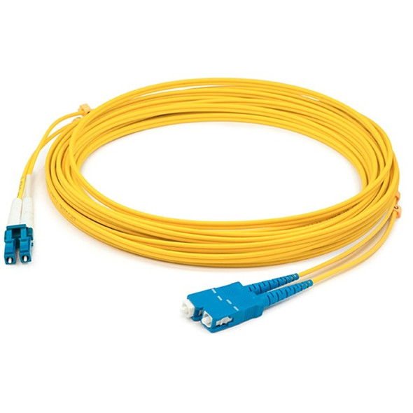 AddOn 0.5m LC (Male) to SC (Male) Yellow OS1 Duplex Fiber OFNR (Riser-Rated) Patch Cable - ADD-SC-LC-0.5M9SMF