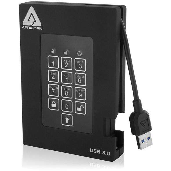"Apricorn Aegis Padlock A25-3PL256-500F 500 GB Portable Hard Drive - 2.5"" External - Black - A25-3PL256-500F"