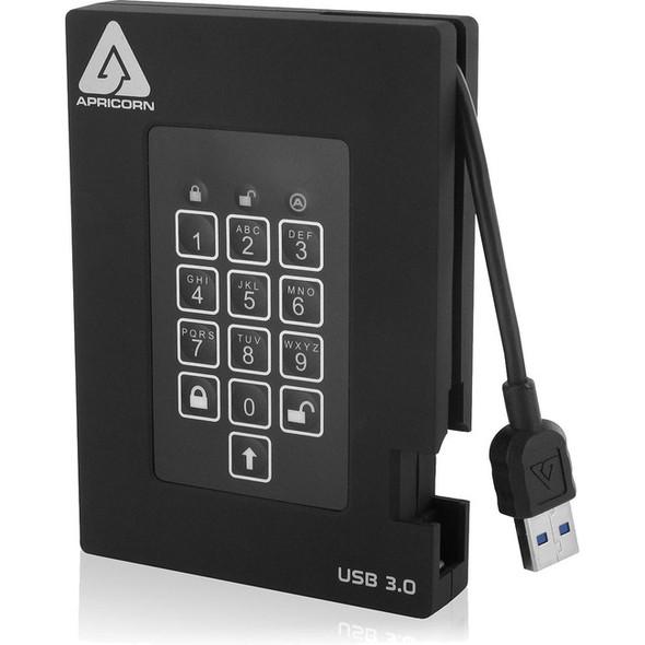 "Apricorn Aegis Padlock Fortress 2 TB Portable Hard Drive - 2.5"" External - Black - A25-3PL256-2000F"