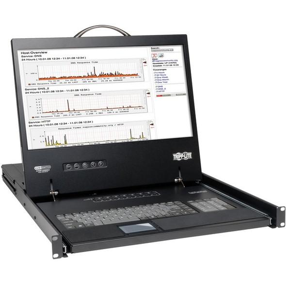 """Tripp Lite 8-Port Rack Console VGA KVM Switch w/ 19"""" LCD 1U TAA - B040-008-19"""