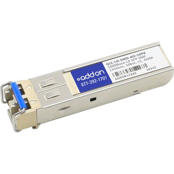 AddOn 10-Pack of Cisco GLC-LH-SMD Compatible TAA Compliant 1000Base-LX SFP Transceiver (SMF, 1310nm, 10km, LC, DOM) - GLC-LH-SMD-AO-10PK