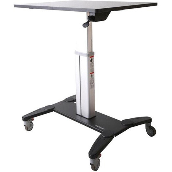 """StarTech Mobile Sit Stand Workstation with 31.5"""" Work Surface - Height Adjustable Mobile Standing Desk - Portable Standing Workstation - STSCART"""
