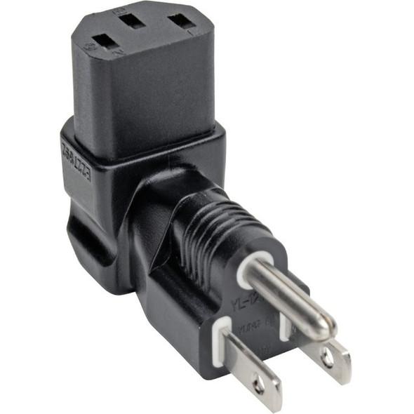 Tripp Lite Down-Angled NEMA 5-15P to C13 Power Cord Adapter - 10A, 125V, Black - P006-000-DA