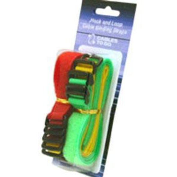 C2G 11in Hook-and-Loop Cable Management Straps - Bright Multi-Color - 12pk - 29856