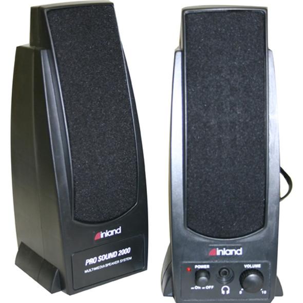 Inland Pro Sound 2000 2.0 Speaker System - 7.20 W RMS - Black - 88034