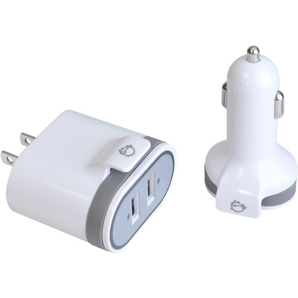 Siig. Usb Wall & Car Charger - White - AC-PW1A22-S1