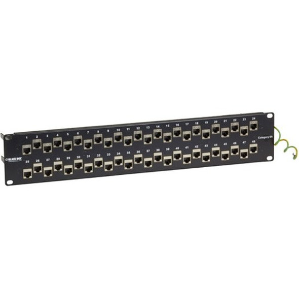 Black Box CAT6A Shielded Feed-Through Patch Panel, 48-Port, 2U - C6AFP70S-48