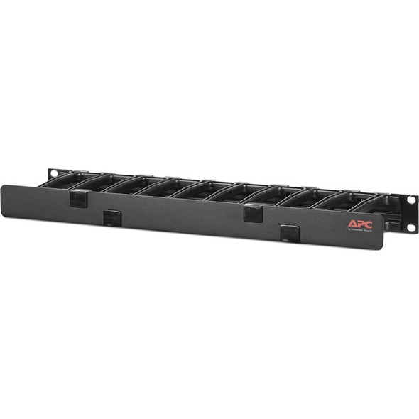 "APC by Schneider Electric Horizontal Cable Manager, 1U x 4"" Deep, Single-Sided with Cover - AR8602A"