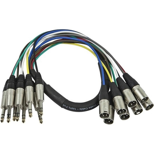 Monoprice 1 Meter (3ft) 8-Channel 1/4inch TRS Male to XLR Male Snake Cable - 601296