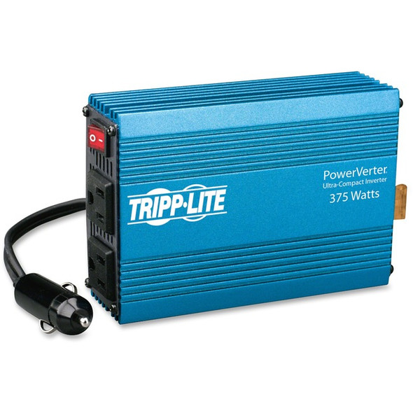 Tripp Lite Compact Car Portable Inverter 375W 12V DC to 120V AC 2 Outlets - PV375
