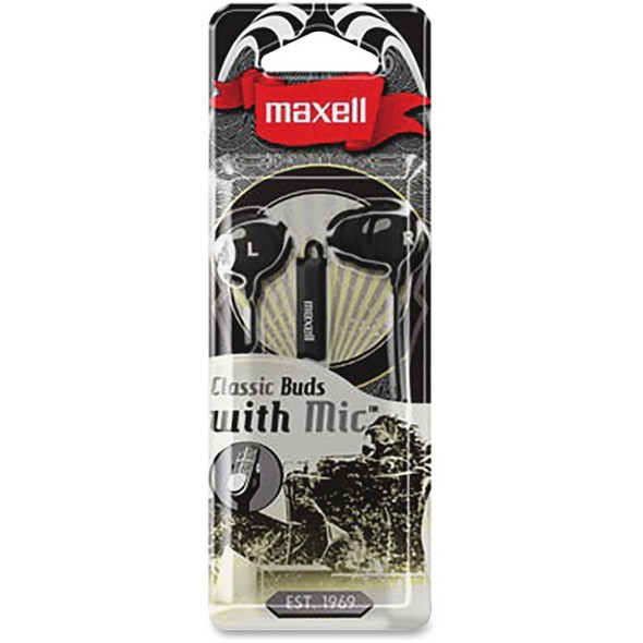 Maxell Classic Earbud with Mic Black - 196131