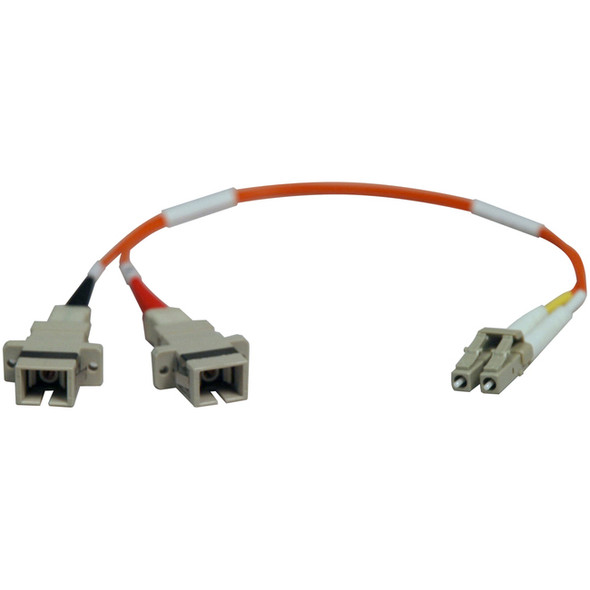 Tripp Lite 0.3M Duplex Multimode Fiber Optic 50/125 Adapter LC/SC M/F 1ft 1' 0.3 Meter - N458-001-50