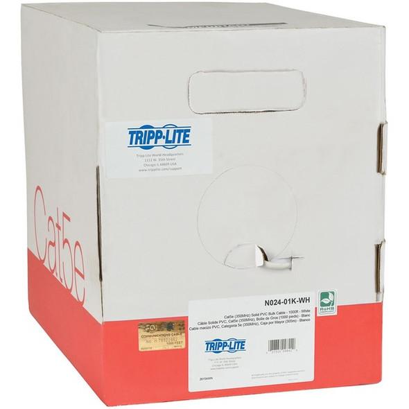 Tripp Lite 1000ft Cat5 / Cat5e Bulk Cable Solid CMP Plenum PVC White 1000' - N024-01K-WH