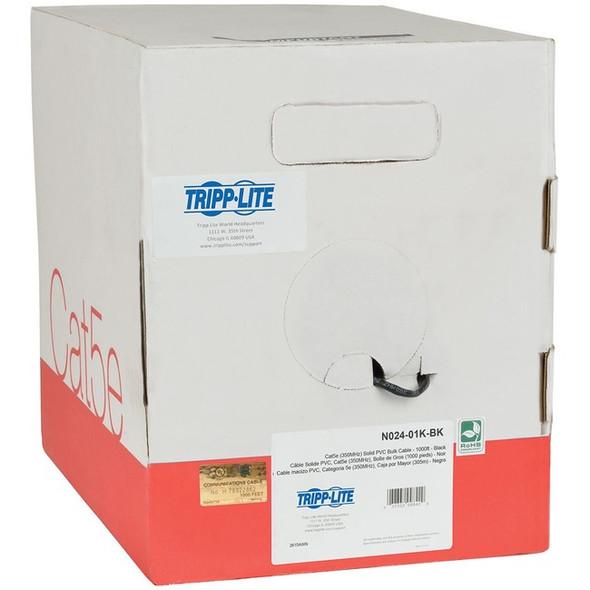 Tripp Lite 1000ft Cat5 / Cat5e Bulk Cable Solid CMP Plenum PVC Black 1000' - N024-01K-BK