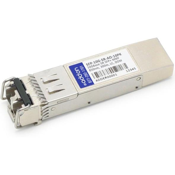 AddOn 10-Pack of Cisco SFP-10G-SR Compatible TAA Compliant 10GBase-SR SFP+ Transceiver (MMF, 850nm, 300m, LC, DOM) - SFP-10G-SR-AO-10PK