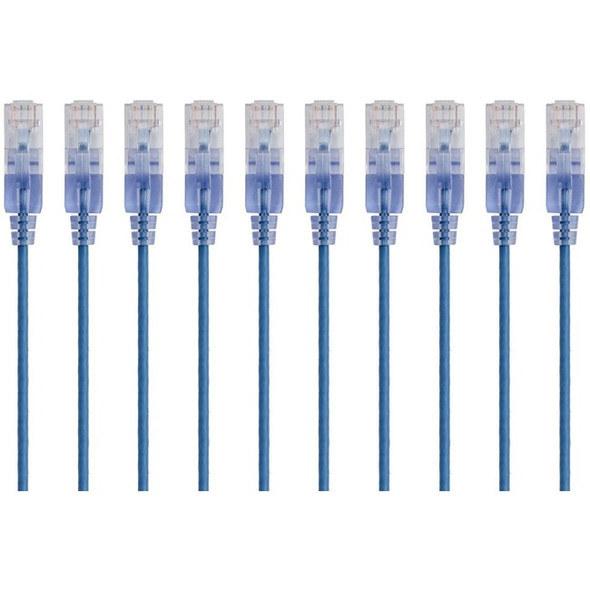 Monoprice 10-Pack, SlimRun Cat6A Ethernet Network Patch Cable, 1ft Blue - 15150