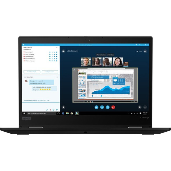 "Lenovo ThinkPad X390 Yoga 20NN001EUS 13.3"" Touchscreen 2 in 1 Notebook - 1920 x 1080 - Core i5 i5-8365U - 8 GB RAM - 256 GB SSD - Black - 20NN001EUS"