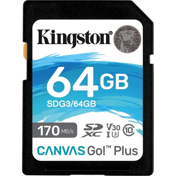 Kingston 64gb Sdxc Canvas Go Plus 170r C10 Uhs-i - SDG3/64GB