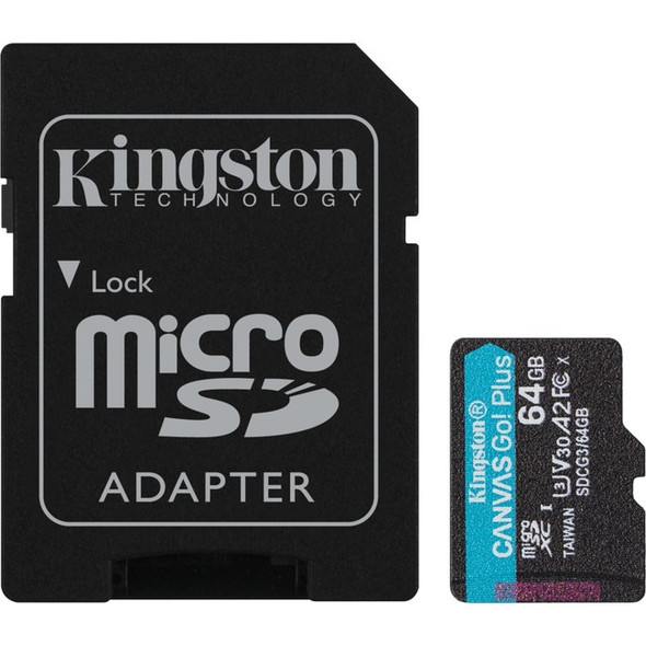 Kingston 64gb Microsdxc Canvas Go Plus 170r A2 U3 - SDCG3/64GB