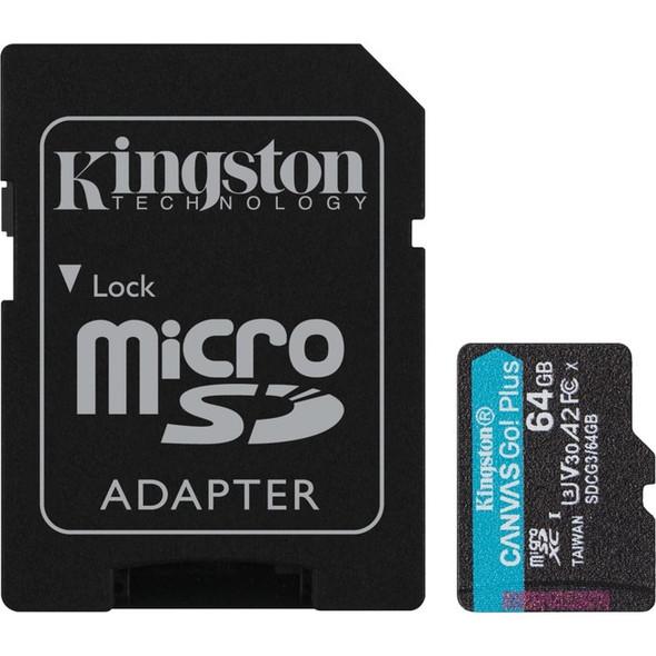 Kingston 64gb Microsdxc Canvas Go Plus 170r A2 U3 - SDCG3/64GB